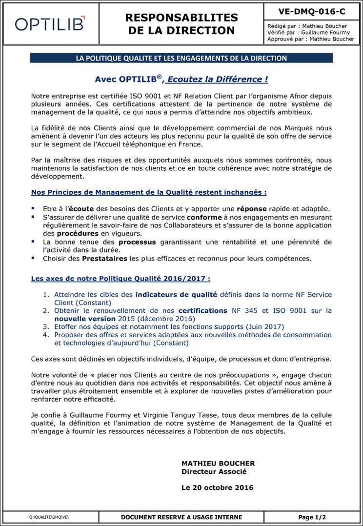 Notre politique qualité | OPTILIB - Centre d'appel ...
